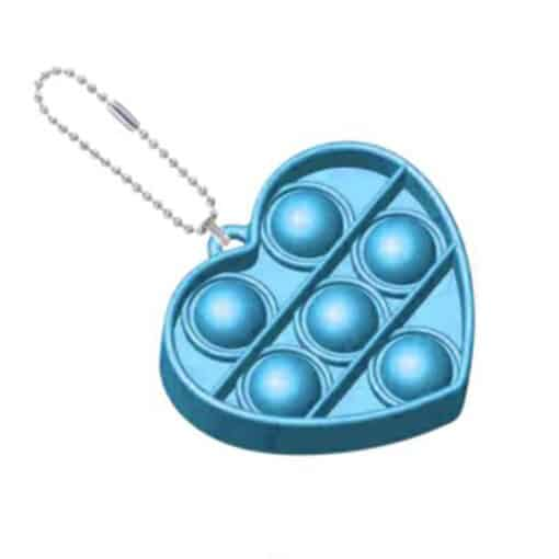 Pop it sleutelhanger hartje blauw