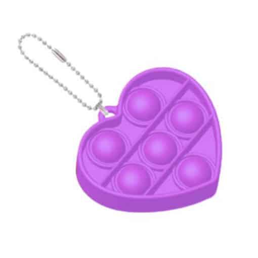Pop it hartje sleutelhanger paars